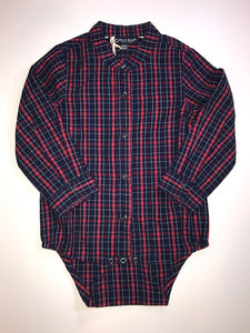 Long Sleeve Plaid Button Onesie