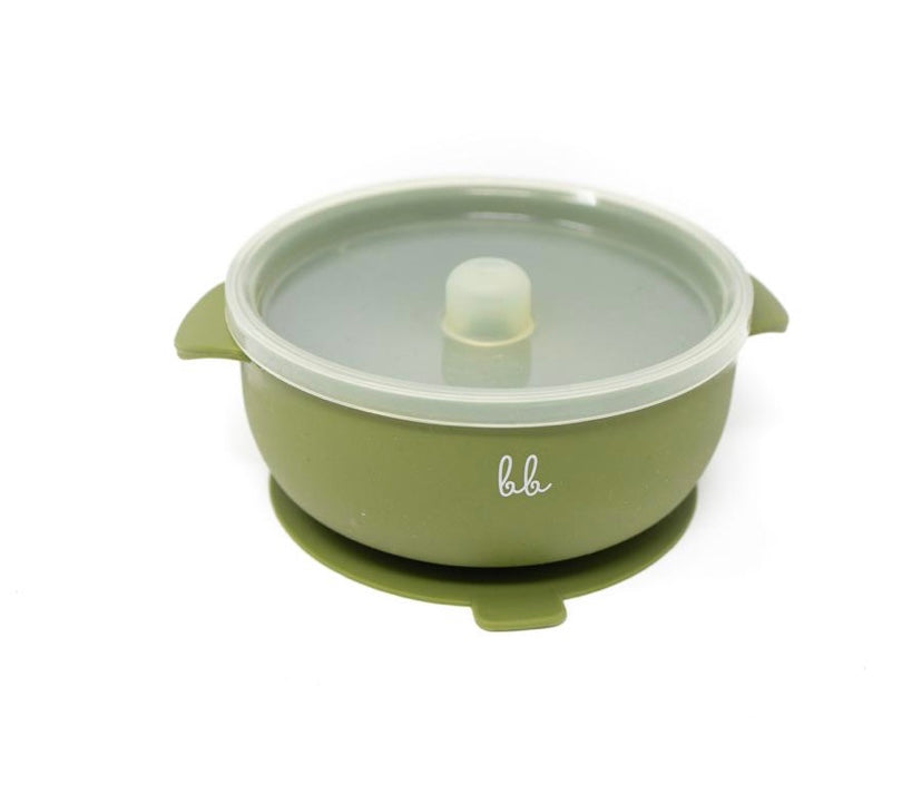Silicone Suction Bowl - Army Green