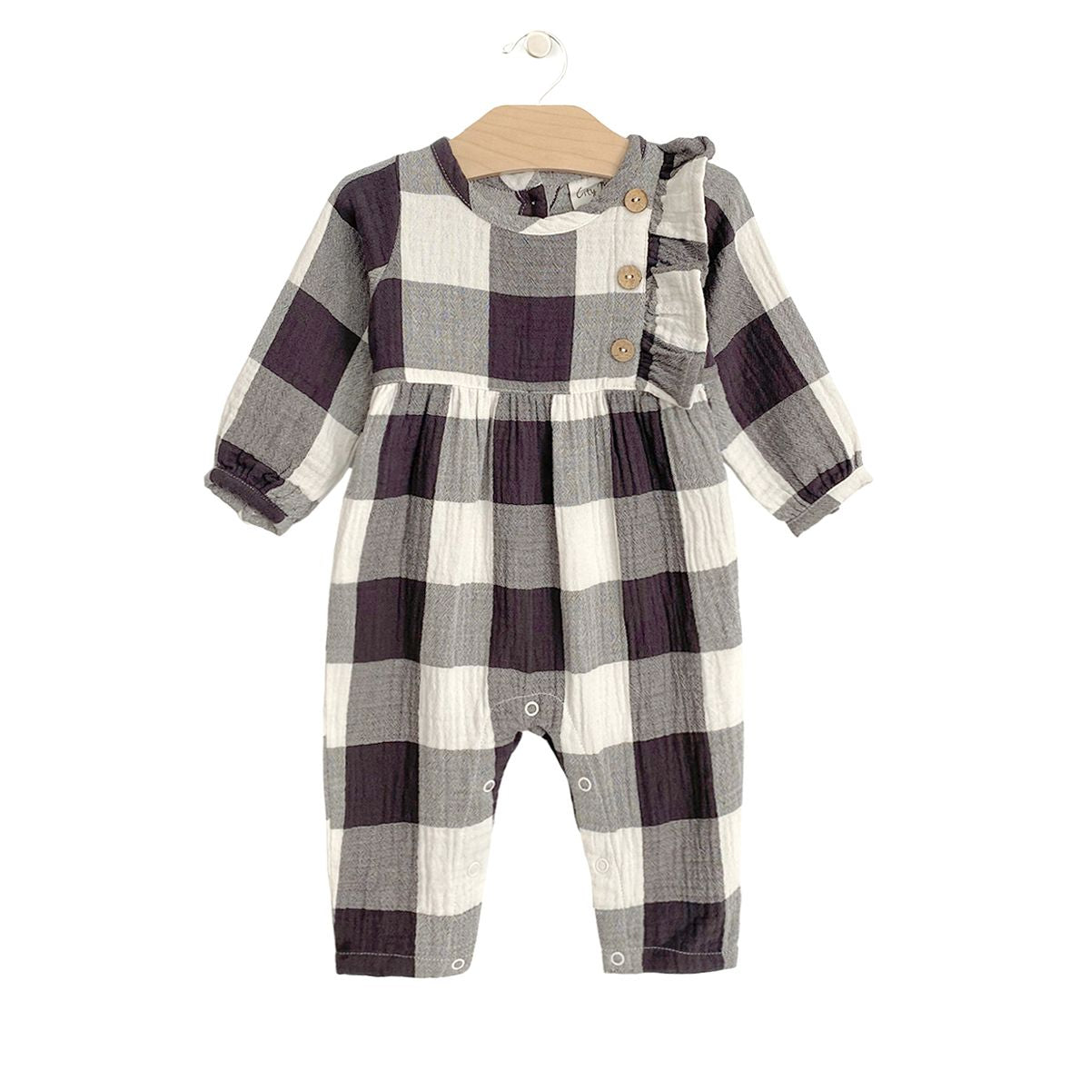Crinkle Side Button Romper