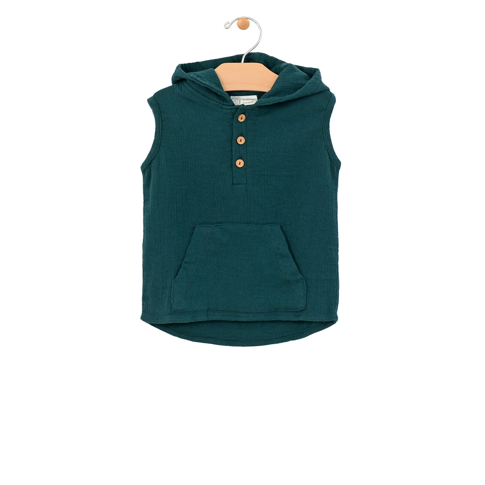 Crinkle Cotton Hooded Henley