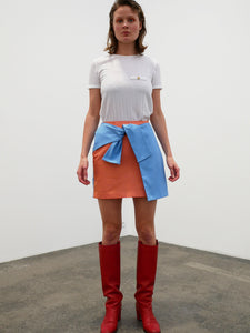 Tie Skirt - orange/blue