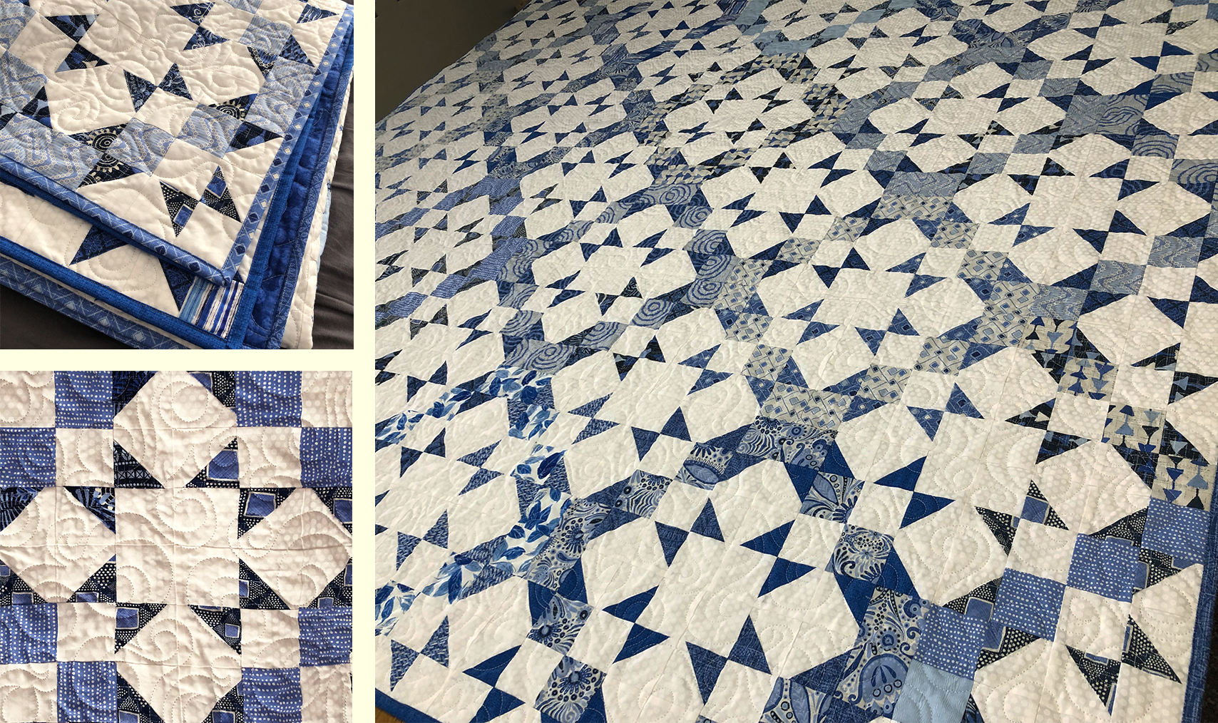 Blue and white scrap quilt