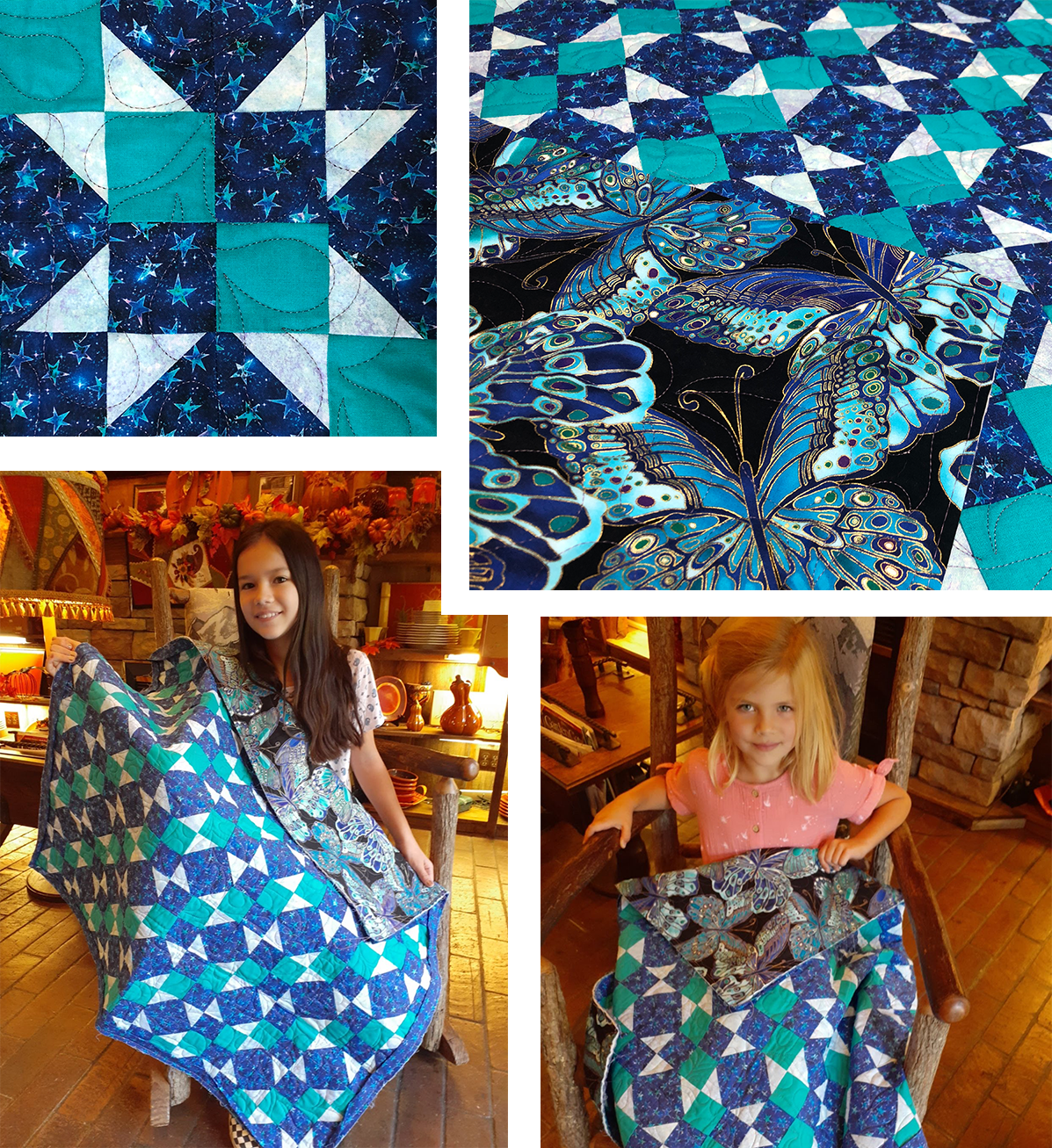 Turquoise and Navy scrap quilt
