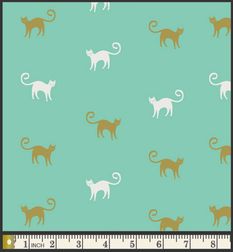 Oh, Meow! fabric by Jessica Swift: Feline Good