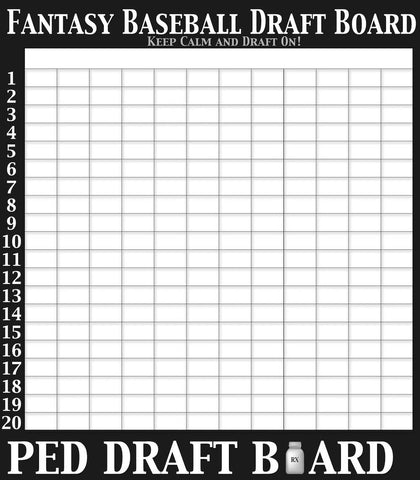 MASSIVE Fantasy Baseball Draft Board (6 ft tall) 2020 Edition