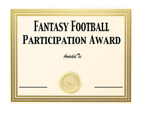Fantasy Loser Participation Award - 2021 Fantasy Draft Board Kit