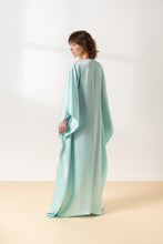 Pastel Green Evening Dress with Embroidered Design