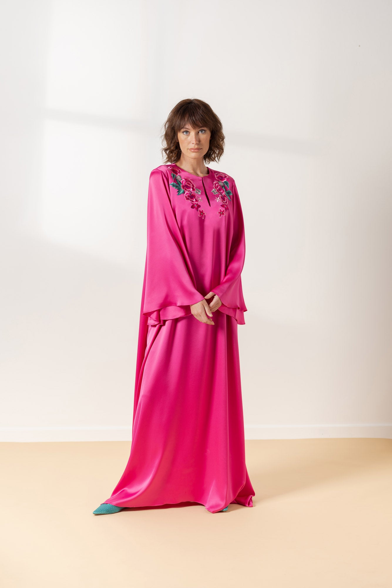 Fuchsia Evening Dress with Embroidery Design