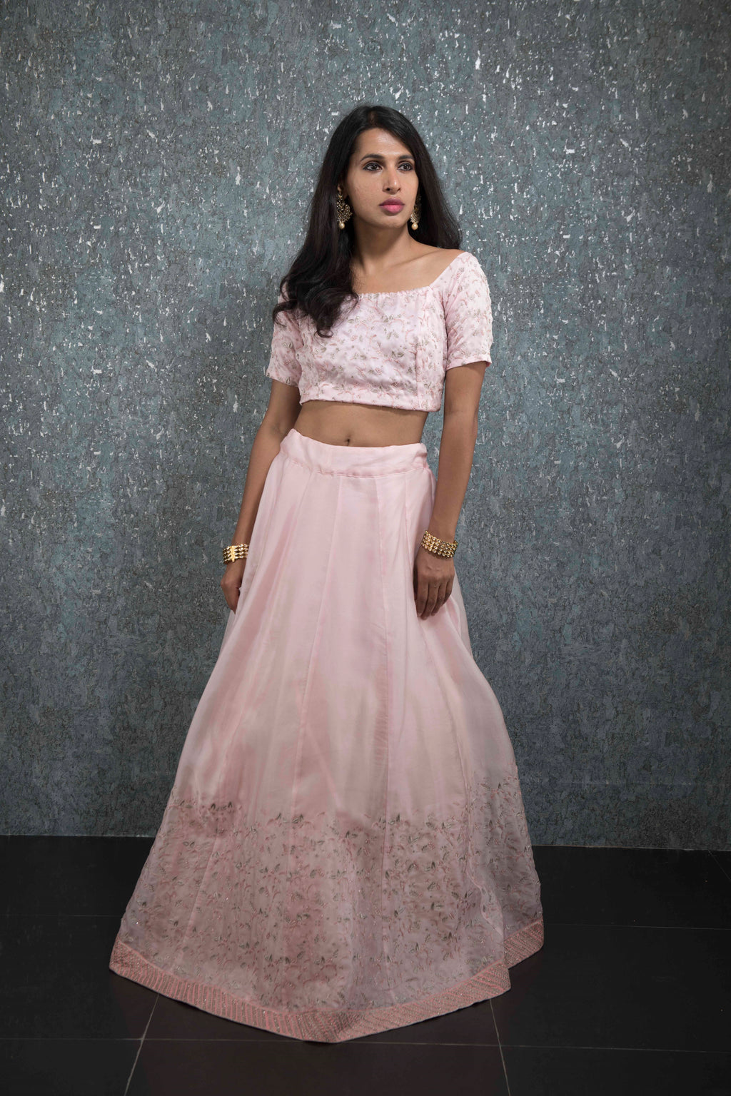 powder pink off sholder lehenga