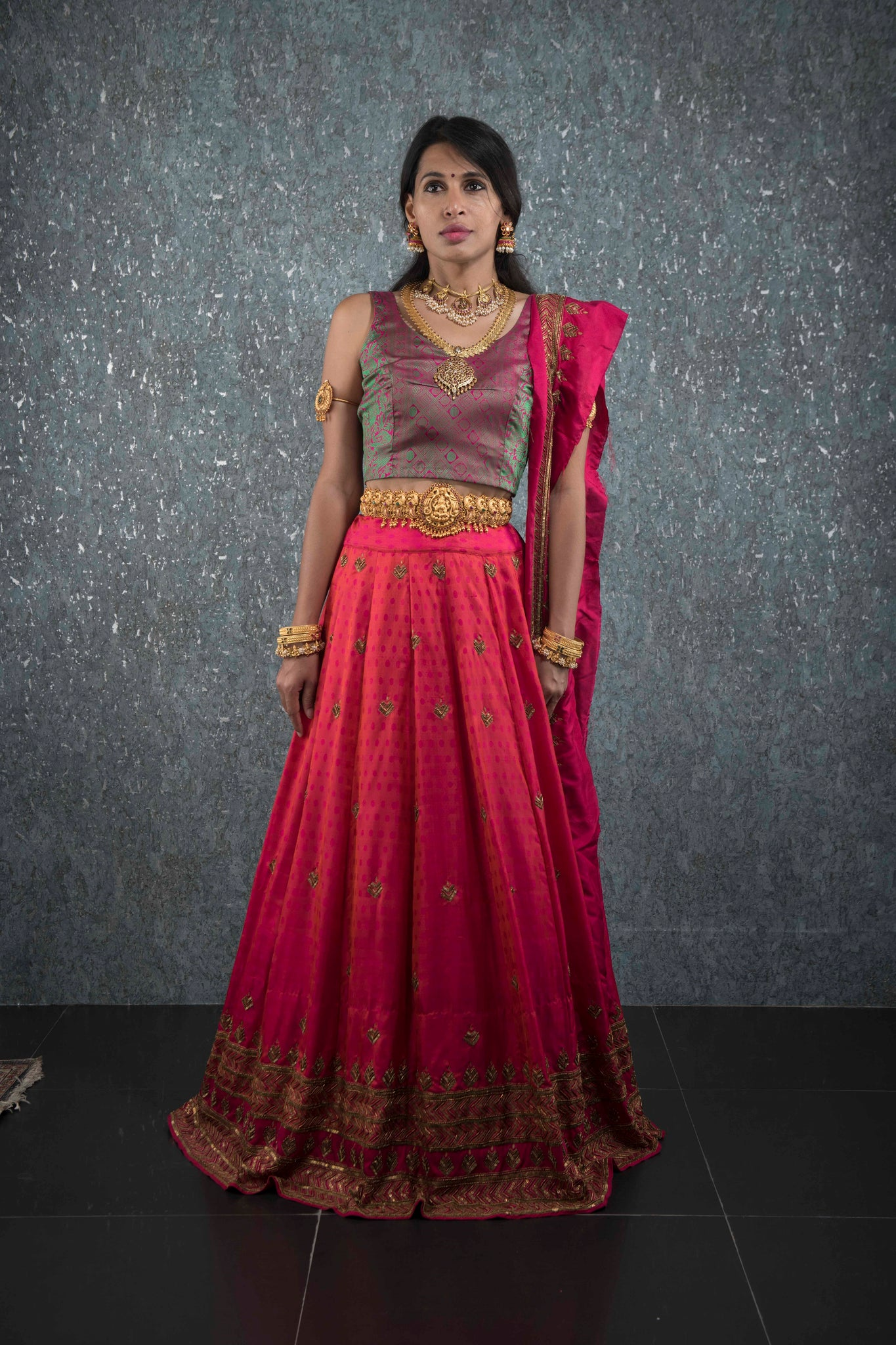 Pink multicolor kanchivaram lehenga