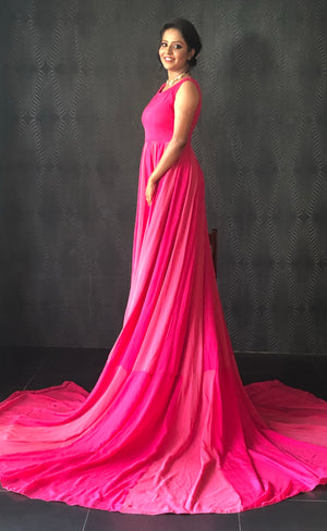 Shades of pink flowy gown