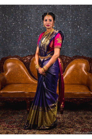 Blue and gold kancheevaram Saree with pink handcrafted blouse