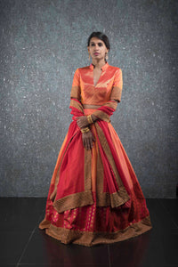 Orange pink kanchivaram lehenga