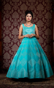 Aqua blue with pure silver work bridal gown