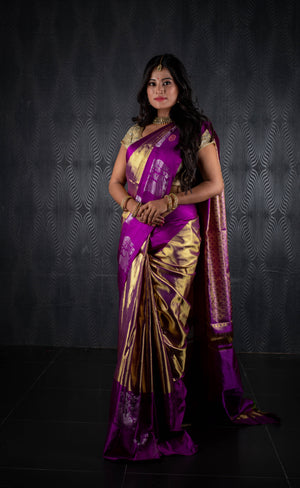 Gold and purple kanchivaram silk saree