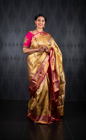 Golden pink kanchivaram saree