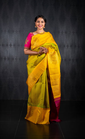 Green and mango yellow saree