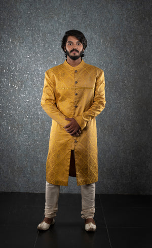Golden yellow silk sherwani