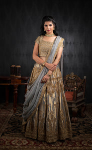 Ash and gold modern motif silk lehenga