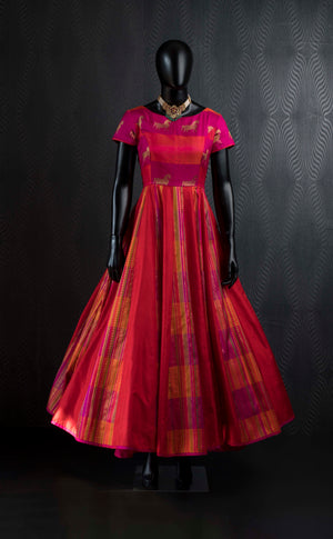 Orange pink kanchivaram silk gown