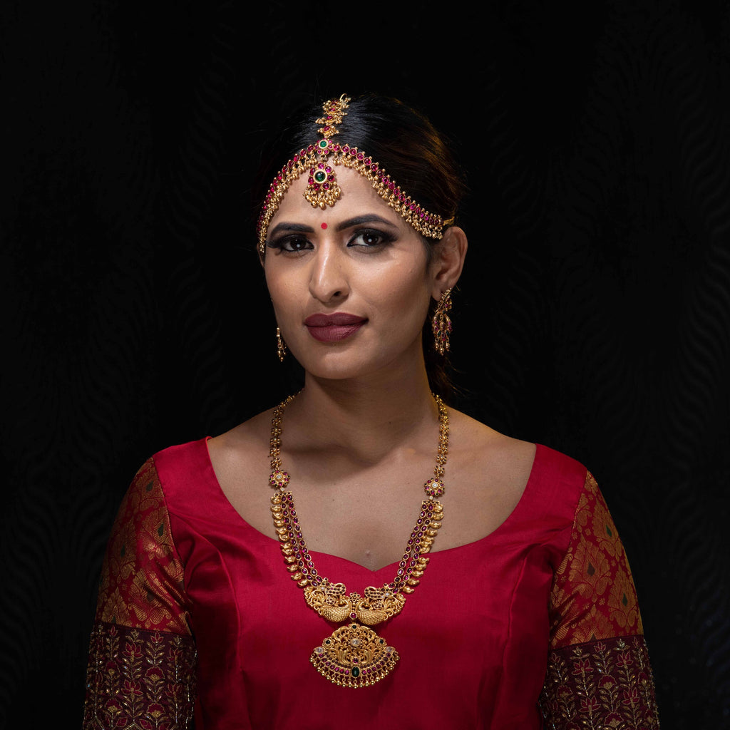 Gold plated silver antique necklace with matching earrings and maang tika