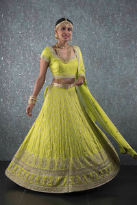 Light green silver zari lehenga