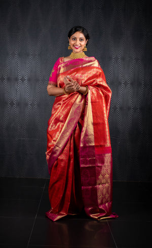 Pink and orange pure kanchivaram Saree