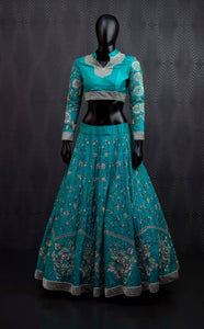 High collar sea form ornate lehenga