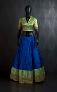 Blue green kanchivaram lehenga