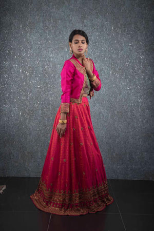 Orange pink jacket lehenga
