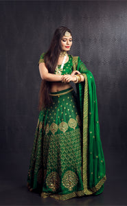 Bottle green gold kanchivaram lehenga