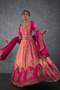 Golden pink kanchivaram lehenga