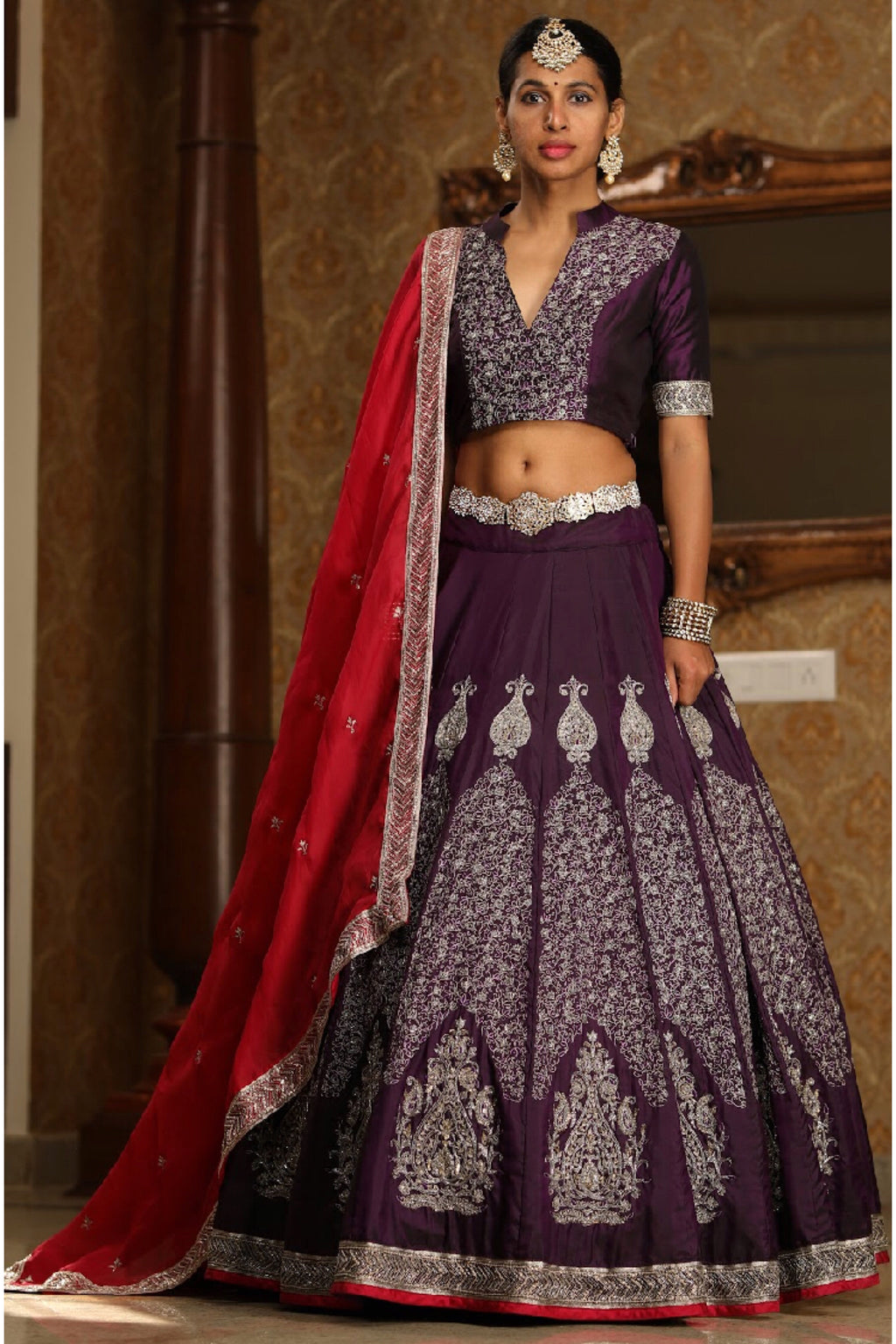 Purple kanchivaram silver zari lehenga