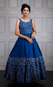 Blue silver zari bridal gown