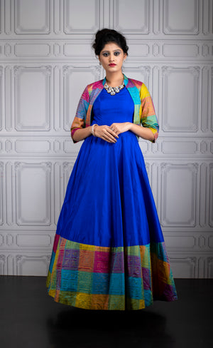 Peacock blue multi color jacket gown