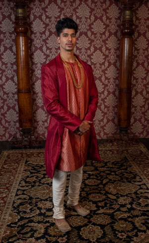 Red silk jacket type sherwani