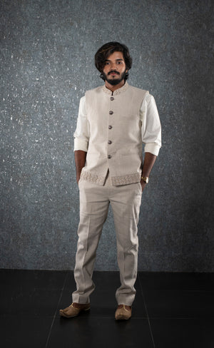 Half white embroidered bandhgala jacket