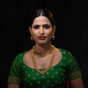 Mullai mottu mala with necklace and earring