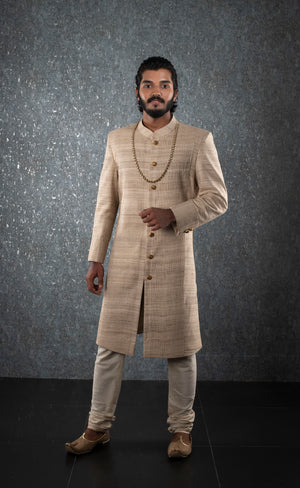 Cream self design sherwani