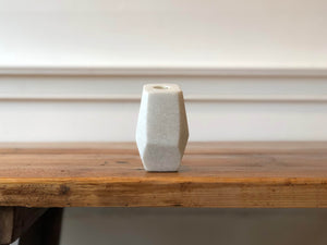Stone Candle Holder, White