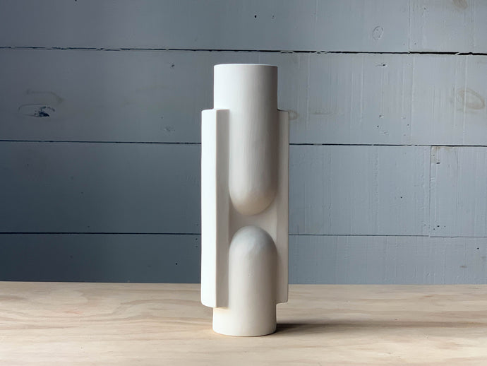 Slender Ceramic Vase in White