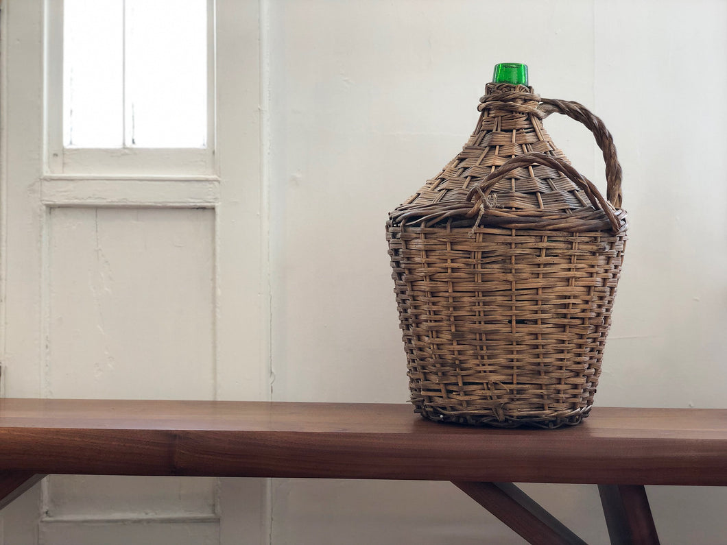 Vintage Rattan Wrapped Wine Jug, Large