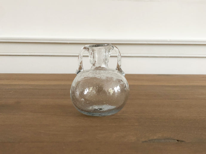 Handblown Double Handle Glass Bud Vase