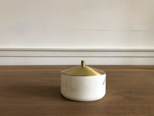 White Marble Dish w/ Brass Cover