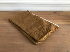Havane Crumpled Washed Linen Fringed Throw