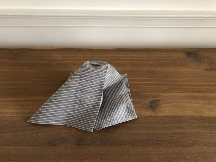 Linen Napkin in Grey + White Stripe