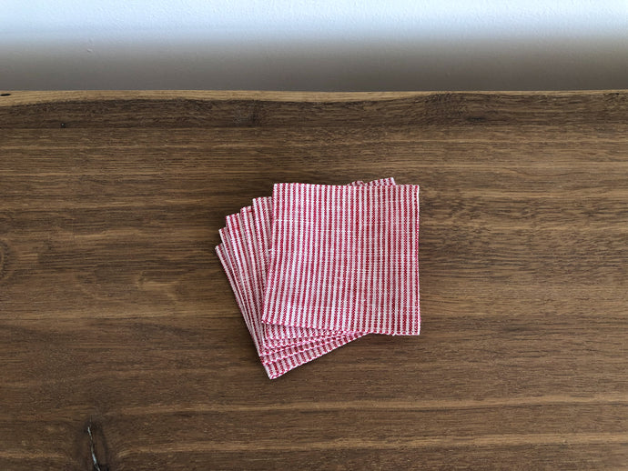 Set of Linen Coasters in Red + White Seersucker