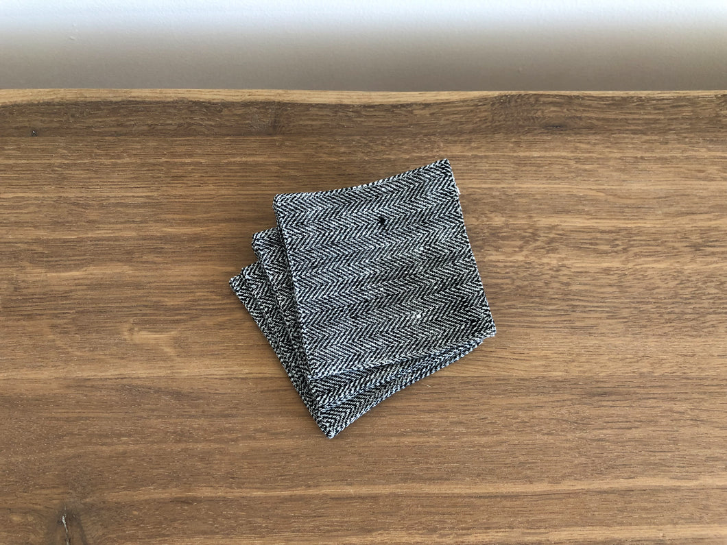 Set of Linen Coasters in Black Herringbone