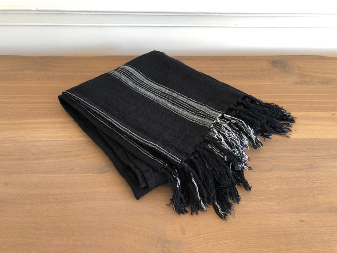 Black + White Striped Linen Throw