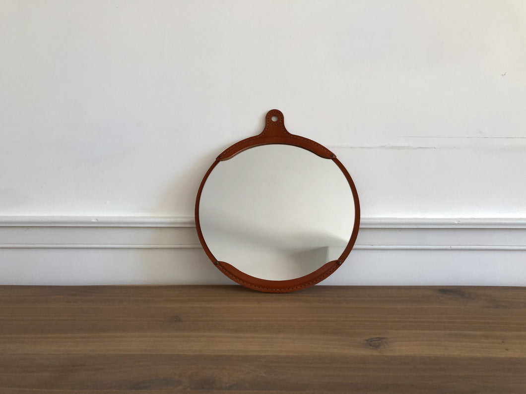 Fairmont Leather Round Mirror